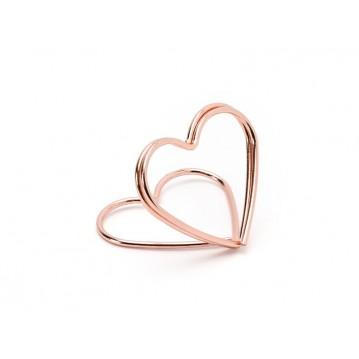 10 stk Bordkortholder hjerte rose guld