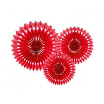 3 stk Rosetter rød 20-30cm