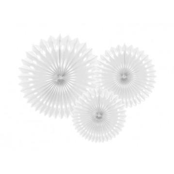 3 stk Rosetter hvid 20-30cm