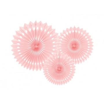 3 stk Rosetter lys pink 20-30cm