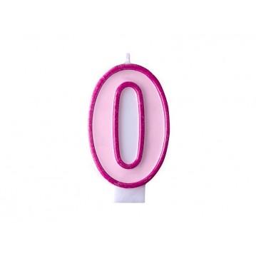 """Fødselsdagslys """"0"""" - pink"""