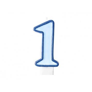 "Fødselsdagslys ""1"" - blå"
