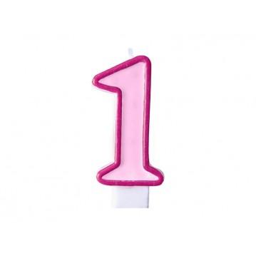 """Fødselsdagslys """"1"""" - pink"""