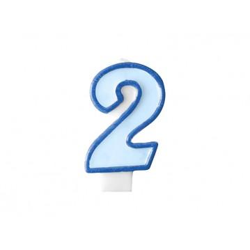 "Fødselsdagslys ""2"" - blå"