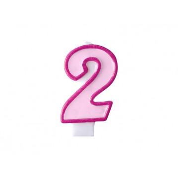"""Fødselsdagslys """"2"""" - pink"""