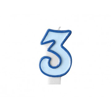 "Fødselsdagslys ""3"" - blå"