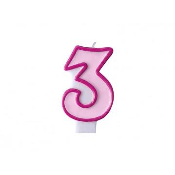 """Fødselsdagslys """"3"""" - pink"""