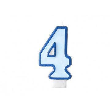 "Fødselsdagslys ""4"" - blå"