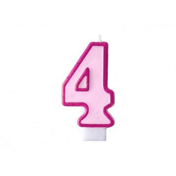 """Fødselsdagslys """"4"""" - pink"""