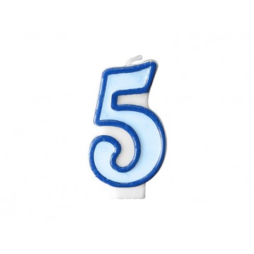 "Fødselsdagslys ""5"" - blå"