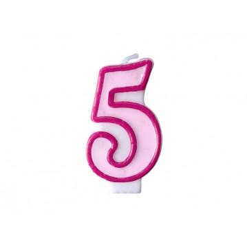 """Fødselsdagslys """"5"""" - pink"""
