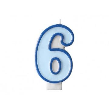 "Fødselsdagslys ""6"" - blå"