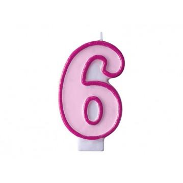 """Fødselsdagslys """"6"""" - pink"""
