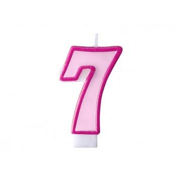 """Fødselsdagslys """"7"""" - pink"""