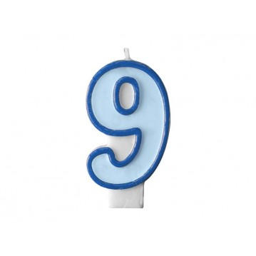 "Fødselsdagslys ""9"" - blå"