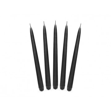 """Taper candle, matt, black, 24cm (1 pkt / 10 pc.)"""