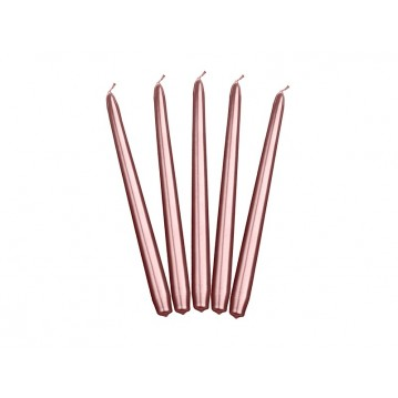 """Taper candles, metallic, rose gold, 24cm (1 pkt / 10 pc.)"""