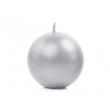 """Candle Sphere, metallic, silver, 6cm (1 pkt / 10 pc.)"""