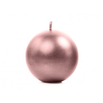 """Candle Sphere, metallic, rose gold, 6cm (1 pkt / 10 pc.)"""