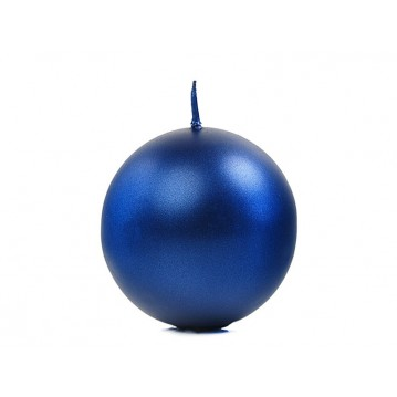 """Candle Sphere, metallic, navy blue, 6cm (1 pkt / 10 pc.)"""