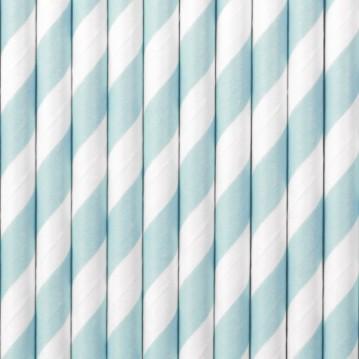 Papirsugerør 10 stk Twiste lyseblå - hvid