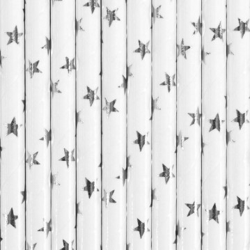 Papirsugerør 10 stk Stars metallic sølv - hvid