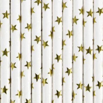 Papirsugerør 10 stk Stars metallic guld - hvid