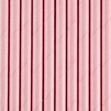 Papirsugerør 10 stk Ensfarvede lyserød