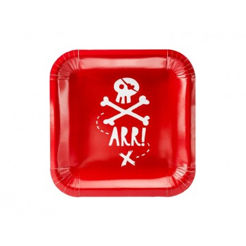 """""""Plates Pirates Party, red, 20x20cm (1 pkt / 6 pc.)"""""""