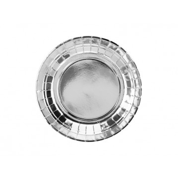 6 stk Paptallerken sølv 18cm
