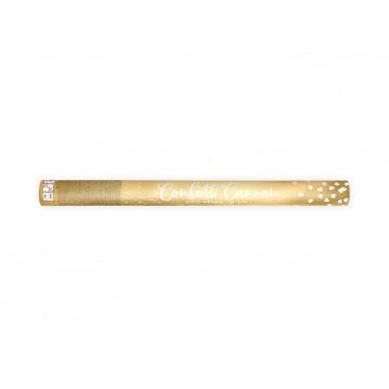 Konfettirør - Guld metallic hjerter 60 cm