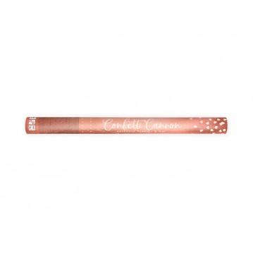 Konfettirør - Rose guld metallic hjerter 60 cm