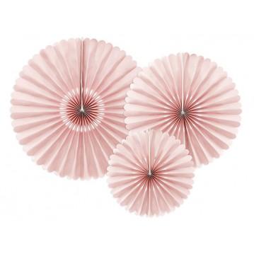 3 stk Rosetter støvet lyserød 26-43cm