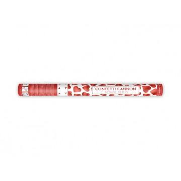 Konfettirør - Røde metallic hjerter 60 cm