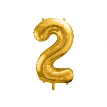 Guld 2 tal ballon - ca 86 cm