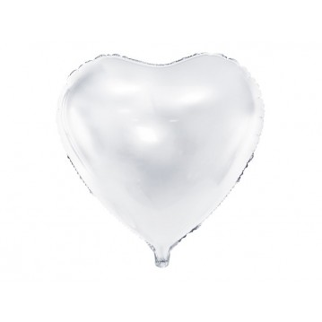 """Hvid hjerte 24"""" folieballoner"""