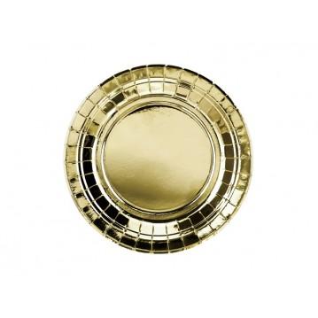 6 stk Paptallerken guld 18cm