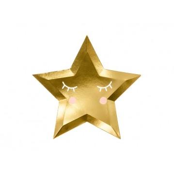 6 stk Paptallerken Little Star - Star, guld, 27cm