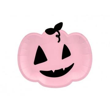 6 stk Paptallerken Pumpkin, pink, 25x22cm