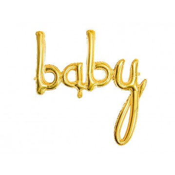 """Foil balloon Baby, gold, 73.5x75.5cm"""