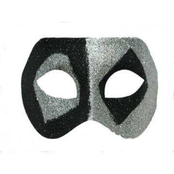 Karnevalsmaske sort/sølv