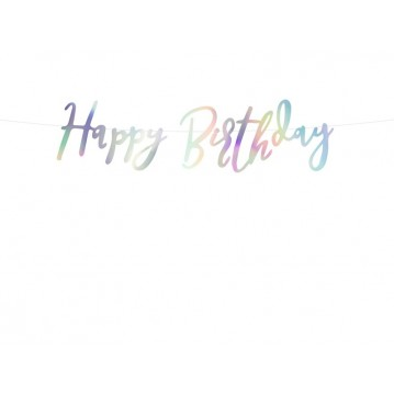 Happy Birthday banner - 62 cm - iridescent