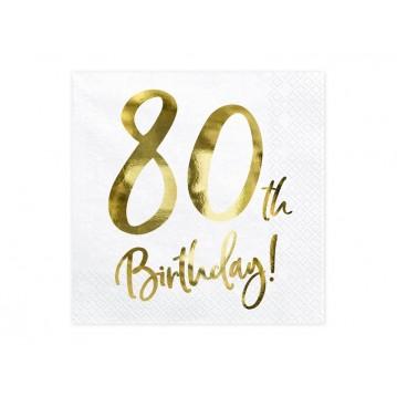 20 stk Servietter 80 år fødselsdag