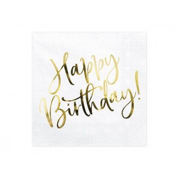 20 stk Servietter Happy birthday guld