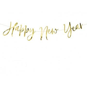 Happy New Year banner - Guld 18 x 66 cm