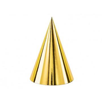6 stk. Metalliske guld partyhatte 17 cm