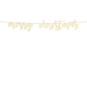 Merry Xmas banner af træ 17 x 87 cm