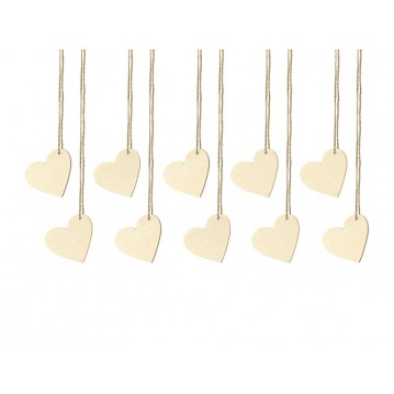 """Wooden place cards Hearts, 6x5cm (1 pkt / 10 pc.)"""