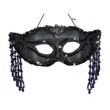 Sort maske med slør og fjer