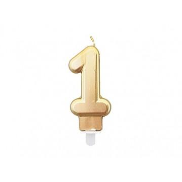 """1 stk. Fødselsdagslys """"1"""" i guld metalic"""